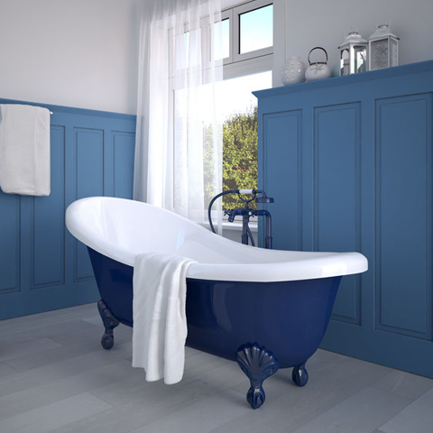 blue bath tub